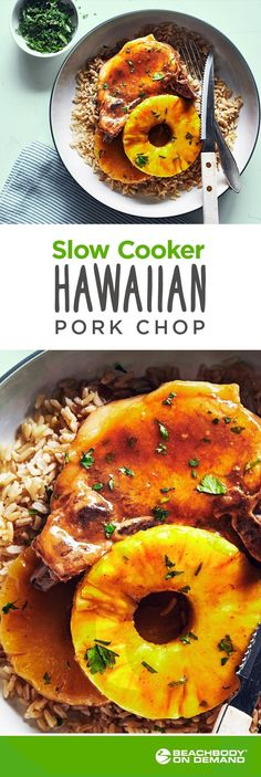 This delicious Hawaiian pork chop recipe takes just 20 minutes of prep and is 21-Day Fix approved! Win-win. Best summer recipes // bbq recipe // Hawaiian recipes// pork recipe // brown rice recipe // 21 Day Fix recipe // Meal prep // Meal planning// Best 21 Day Fix recipes // Beachbody // Beachbody blog