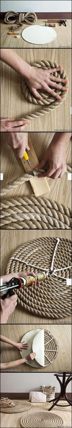 DIY Simple Rope Rug                                                                                                                                                                                 More