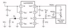 BQ24200, lader voor Li-ion cellen. De BQ24200 van Texas Instruments vormt de basis van een eenvoudig laadsysteem voor Li-ion cellen. Groot voordeel van dit IC is dat de laadtransistor in het IC is geïntegreerd en er vrijwel geen externe componenten noodzakelijk zijn.