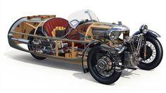 Morgan Sports Car - 3 Wheeler from 1934 Morgan Sports Car, Morgan Cars, Cutaway, Classic Motors, Classic Cars, Morgan Motors, Reverse Trike, British Sports Cars, Pedal Cars