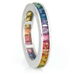 3.5mm Rainbow Sapphire Eternity Ring 18K White Gold (6ct tw)