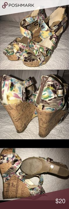 Guess Wedges Floral wedges, great item to spruce up any outfit.  Worn just a few times. G by Guess Shoes Wedges