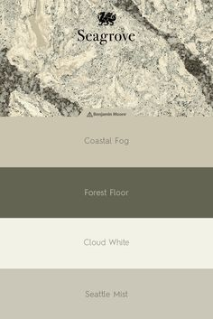 Play up the misty grays and neutral greens of our Seagrove™ design with complementary paint shades from Benjamin Moore in the kitchen or bathroom.