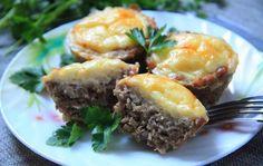 Як приготувати М'ясні кекси з сирно-яєчною начинкою  #закуски #кулинария #рецепты #блюда