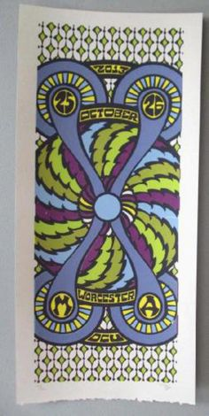 Original concert poster for Phish in Worcester, MA in 2013. It is printed on Watercolor Paper with Acrylic Inks and measures around 10 x 22 inches.  Print is signed and numbered out of only 70 by the artist Tripp.