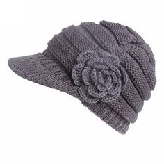 b17f538dec0 Princer Womens Winter Warm Knitted Hats Slouchy Beanie Hat Cap with Visor  (Gray 3)