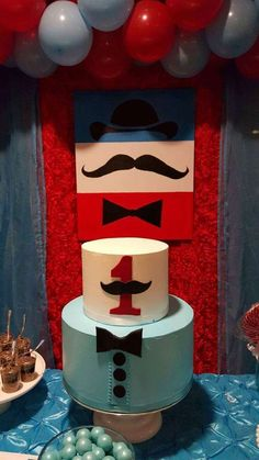 Marlen's decoraciones 's Birthday / Enzo's mustache birthday party - Photo Gallery at Catch My Party Mustache Birthday Cakes, Mustache Cake, Mustache Theme, Mustache Party, Bridal Shower Cakes, Baby Shower Cakes, Gorgeous Cakes, Amazing Cakes, Little Man Party