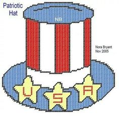 PATRIOTIC HAT by NORA BRYANT -- WALL HANGING