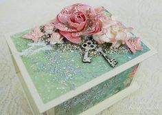 Scraps of Elegance scrapbook kits: DIY Video Tutorial - Mixed Media Shabby Chic altered ATC box. Tracey Sabella altered a #Graphic45 ATC Book Box using our May 2016 kit and add ons, and turned it into a gorgeous trinket box - perfect for teacher gifts, Mother's Day, or Christmas gifts, and she did a Youtube step-by-step tutorial. Subscribe to our kits and get a new box of mixed media scrapbooking fun in the mail each month. www.scrapsofdarkness.com