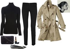 Untitled #204 by bittealt featuring straight leg jeans ❤ liked on Polyvore Vionnet black turtleneck sweater / 7 For All Mankind straight leg jeans / Roger vivier flat, $710 / Chanel lipstick, $39