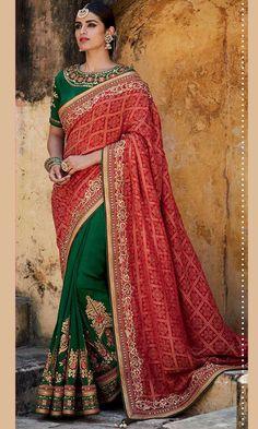 Shop self design Green and Red Designer Wedding Saree (SKU Code : SAEBRKM058) Online at IshiMaya Fashion