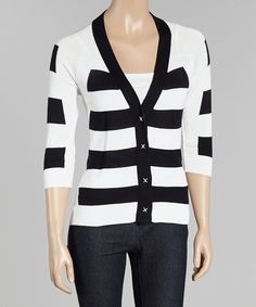 Look at this Navy & White Stripe Silk-Blend Cardigan on #zulily today!