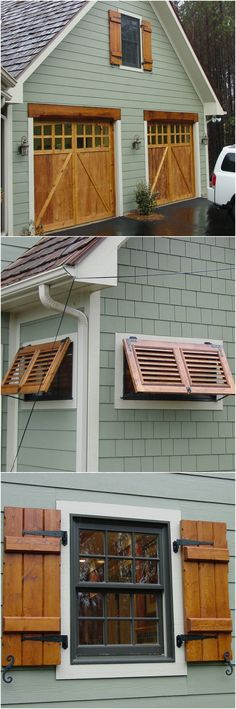 Custom stained cedar shutters, matching garage door stain and adorable little Bahama shutters.