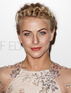 9 Short Hairstyle Tutorials Inspired by Julianne Hough | This style looks much more complicated than it is. It's simply a regular French braid that starts at her side part and wraps around her head. The French braid looks so unique, because the strands have been pulled on creating great texture and volume.