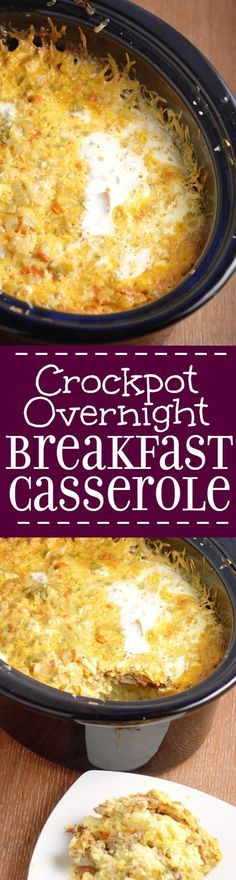 Crockpot Overnight Breakfast Casserole recipe is a classic make ahead breakfast casserole with eggs, sausage, bacon, hash browns, and cheese.