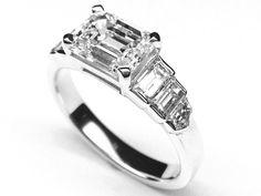 Emerald Cut Step Up Diamond Horizontal Engagement Ring - ES1156WG