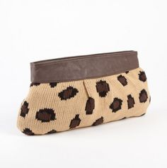 Animal Print Knit Clutch