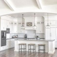 Paint color throughout the house (walls) and on the kitchen cabinets is Benjamin Moore Swiss Coffee. I adore white- It's clean and crisp and produces a great canvas to add color as you want. by georgette