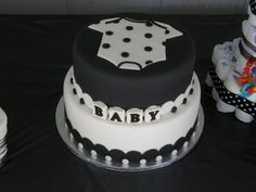 Black and White onsie baby shower cake for my husband's cousin.