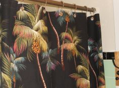 Tropical Hawaiian 100% Cotton Palm Trees Barkcloth Fabric SHOWER CURTAIN