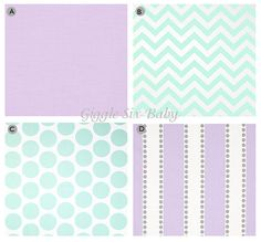 Custom Crib bedding - Purple and Mint Baby Bedding on Etsy, $260.00