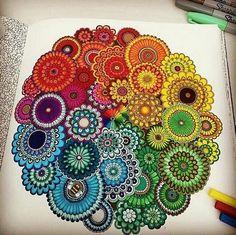 Rainbow mandala doodle by Mandala Doodle, Mandala Art, Mandala Design, Croquis Mandala, Mandala Drawing, Zen Doodle, Doodle Art, Art Zen, Doodle Drawing