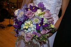 Amazing flowers for a blue and purple wedding B--not that you care now, but I like yours better Hydrangea Bouquet Wedding, Purple Wedding Bouquets, Rustic Wedding Flowers, Blue Bouquet, Floral Wedding, Wedding Colors, Wedding Ideas, Wedding Stuff, Dream Wedding