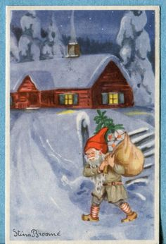 X9440   Postcard  Swedish Miniature  Elf with Sack of Presents Going to House picclick.com