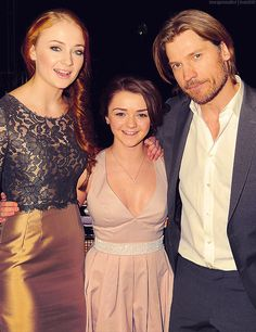 Sophie Turner, Maisie Williams & Nikolaj Coster-Waldau, Game of Thrones.  This is the closest the Starks and the Lannisters will ever come to getting along ;)