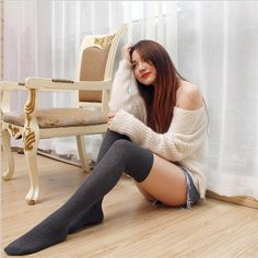 ec31a3b4012 New long-barreled pure winter Stockings Newly Design Women Girl Black White  Skinny Stockings Over Knee Thigh High Stocking Sexy
