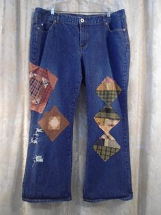 Size 20 Womens Upcycled Denim Blue Jeans Redesigned repurposed plus size quilt patch patched Hippie Boho Festival by LandofBridget on Etsy