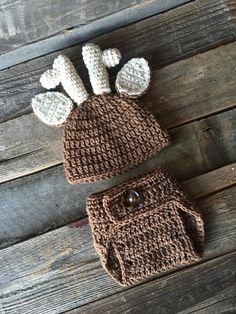 d0667231c35 Crochet Deer Antler Hat and Diaper Cover Set Crochet by KKandCo Children  Hats