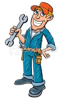 Cartoon plumber holding a wrench. Isolated on white Royalty Free Stock Vector Art Illustration