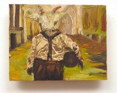 "Man with Suspenders of Disbelief, oil on pine, 4.5""x 3.5"", Sarah Zar"