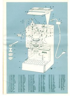 A super sweet, totally has to be rare parts diagram i found of the vintage Gaggia Coffee espresso machine i just purchased. It looks new i had no idea it was made in 1970! apparently it still holds its own with the rest of them.