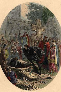 Ilustração de cerca de 1750 de 'Hamlet', peça de Shakespeare. (Crédito: Hulton Archive/Getty Images)