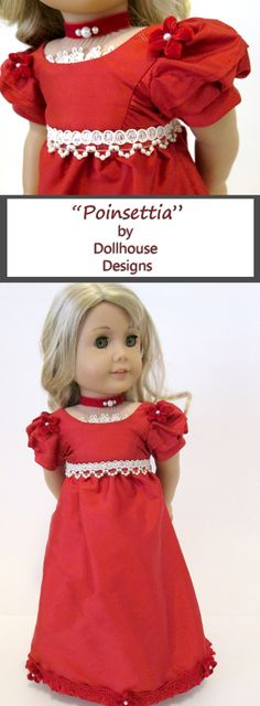 ~ Poinsettia ~ New Silk Holiday Gown by Dollhouse Designs... a One of a Kind Original Velvet choker necklace and Fine Trims for American Girl Dolls Caroline Josefina MyAG