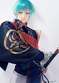 Ichigo Hitofuri (Touken Ranbu), light blue hair, yellow eyes