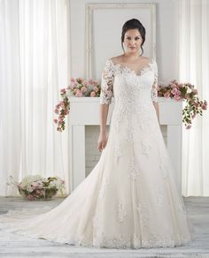 The Best Wedding Dresses for Fat Arms! Elbow length sleeved wedding dresses – The Best Wedding Dresses for Brides with Fat Arms – EverAfterGuide Popular Wedding Dresses, Pretty Wedding Dresses, Wedding Dresses For Girls, Wedding Dress Sleeves, Bridal Wedding Dresses, Wedding Dress Styles, Ivory Wedding, Bridal Style, Wedding Reception