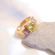 DigNew Size 8.5 Unique 14K Gold Plated RingPink by DigNew on Etsy