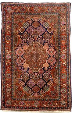 Kashan Rug, West Central Persia, second quarter century, ( 5 ft. 2 in. x 3 ft. 4 in. Iranian Rugs, Iranian Art, Square Rugs, Drawing Artist, Magic Carpet, Traditional Design, Persian Rug, Rugs On Carpet, Vintage Antiques