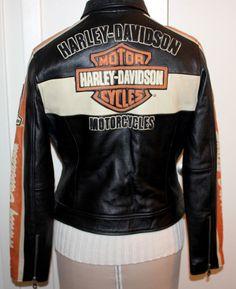 Womens HARLEY DAVIDSON Leather Jacket Cafe Racer Chocolate Brown Orange Tan  M #HarleyDavidson #Motorcycle