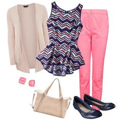 "casual teacher outfits | Teacher outfit-Pastel & Navy"" by chuncoa on Polyvore Clothes Casual ..."