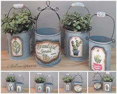 Tin Can Art, Tin Art, Tin Can Crafts, Crafts For Kids, Garden Projects, Projects To Try, Repurposed Items, Vintage Market, Easy Diy