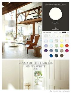 2016 Benjamin Moore Color of the Year: Simply White white color year - White Things Revere Pewter Benjamin Moore, Benjamin Moore Paint, Benjamin Moore Colors, Best Interior Paint, Interior Paint Colors, Interior Design, Paint Colours, Wall Colors, Living Room Styles