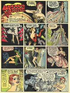 Panel from a Brenda Starr Reporter comic strip, published by The Chicago Tribune, United States, 1955, by Dale Messick.
