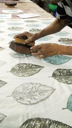 A block printing business in India that also use a natural dye made from raisins. A block printing business in India that also use a natural dye made from raisins. Fabric Painting, Fabric Art, Fabric Design, Encaustic Painting, Stamp Printing, Screen Printing, Block Printing On Fabric, Block Print Fabric, Block Printing Designs