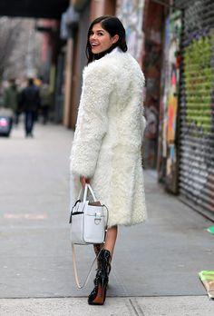 FURRY! Derek Lam coat  Reed Krakoff bag  Alaïa shoes