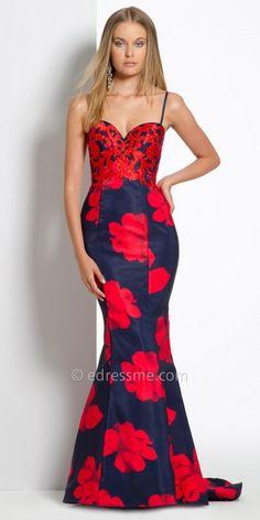 Satin Floral Evening Dress By Camille La Vie #edressme