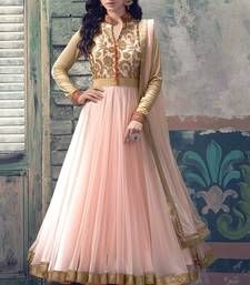 Buy Pink embroidered Net semi stitched salwar with dupatta anarkali-salwar-kameez online